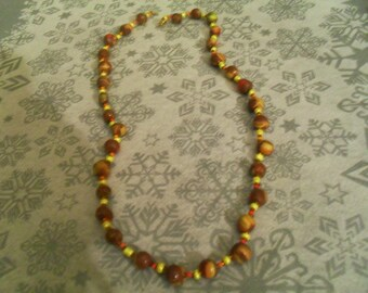 beautiful unique and original necklace brown, yellow and orange
