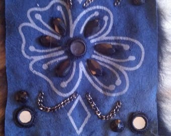 Applique sewing double-sided leather blue