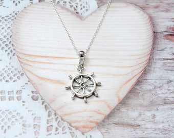 Bar necklace pendant charm chain boat, sea, fisherman