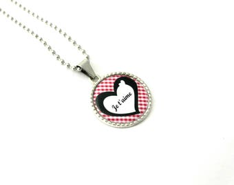 """Jewelry necklace personalized cabochon """"I love you"""" love, love"""