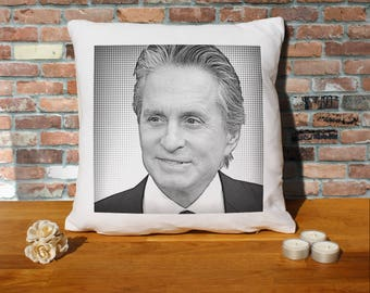 Michael Douglas Pillow Cushion - 16x16in - White