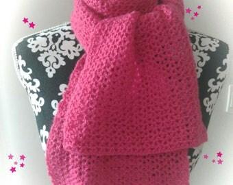 Made entirely crochet Fuchsia scarf.
