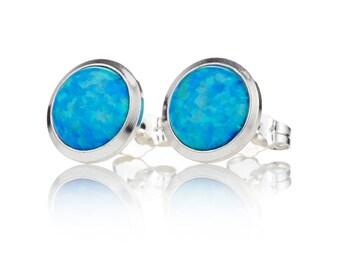 6mm Blue Opal Stud Earrings
