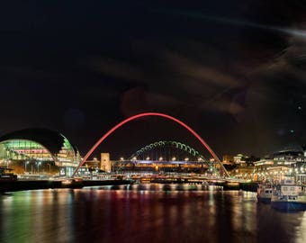 Limited Edition Landscape Photograph: River Tyne at Night