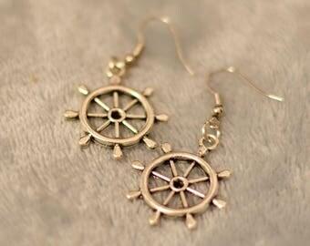 Nautical wheel earrings