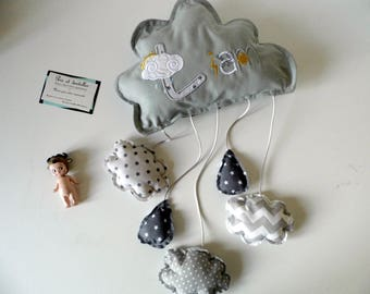 To order! Baby mobile, grey cloud, to be personalized with baby's name, custom creation
