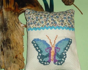 Door hanging cushion blue and beige, handmade, canvas, point of the cross, cross stitch embroidery, fabric liberty