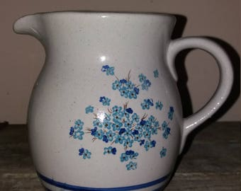 Lovely French vintage Ceramic Jug With Blue Flowers, Kitchen,Living,Decor,Water Jug, French Pottery,Gift,Grey Blue