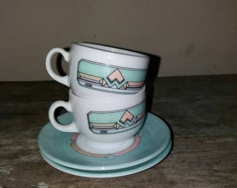 Vintage Set Of 2 Esso Arcopal Cups And Saucers