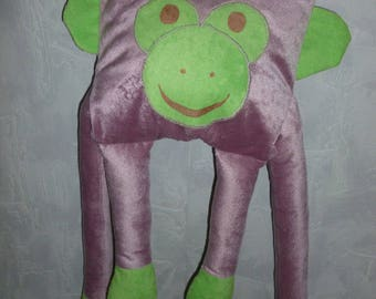 Large plush monkey velvet thousand old pink and green stripes