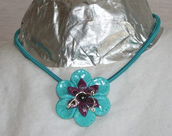 Necklace big polymer flower - various colors