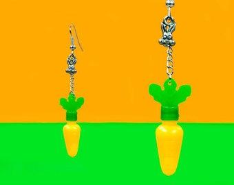 Earrings rabbit and carrot, recycling, orange earrings green Silver earrings