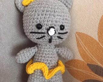 Toy kitten blanket handmade crocheted 15 cm