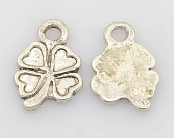 "Set of 5 ""clover"" Silver charm"
