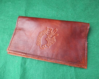 Celtic cat leather checkbook