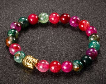 beautiful red and green agate stone beads bracelet