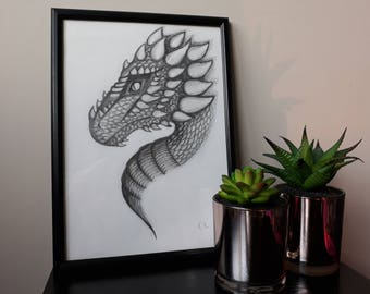 Original Signed Dragon Pencil Drawing, A4