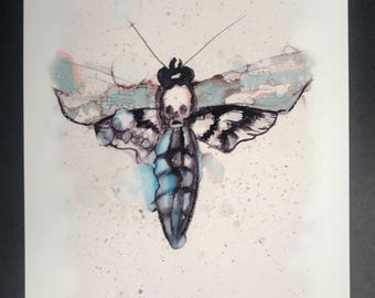 Death moth painting  8.5x11in PRINT