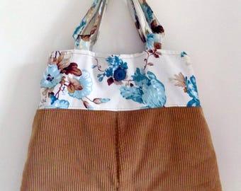 Upcycling Crossbody bag. Velvet corduroy and cotton.