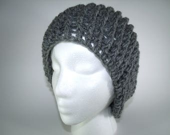 Stormy Grey Handmade Slouch Crochet Beanie Custom