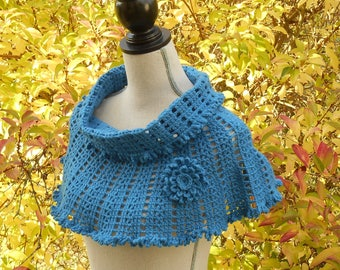 Collar Snood blue crochet