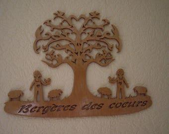 hearts under a tree shepherdesses sheep goat