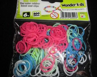bag of colorful elastic bracelets