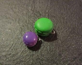 set of 2 macarons charms purple Green