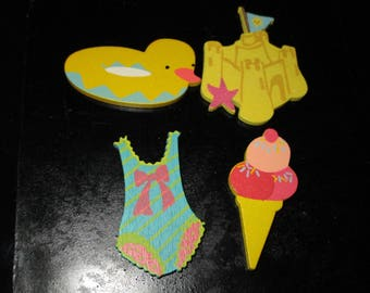 set of 4 beach buoy theme wooden shapes