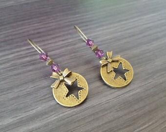 Round purple sleeper earring