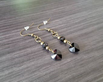 Swarovski black heart Earrings