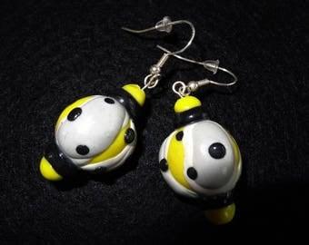 Yellow Stud Earrings in dough fimo 'Yellow Fusion' whimsical