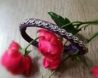 Purple Leather Sami bracelet, silver pewter and Pearl silver 925 - Bohemian chic