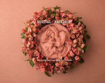 newborn Digital Backdrop - Floral wreath Newborn Digital Background - Photography prop download - girl-overlay-pink- High Res jpg file-#1
