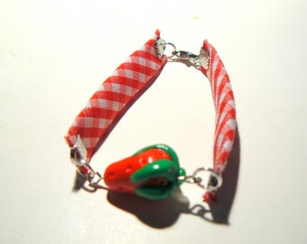 Bracelet red Strawberry fimo gingham length 17 cm approx