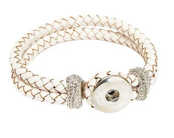 Leather Bracelet with a snap Clixy 20 cm - white - Ref 5308 20111 (snap button)