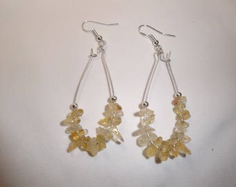 Citrine earrings magnetised solar plexus chakra