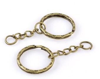 30 Keychain bronze ring chain 5.3 cm