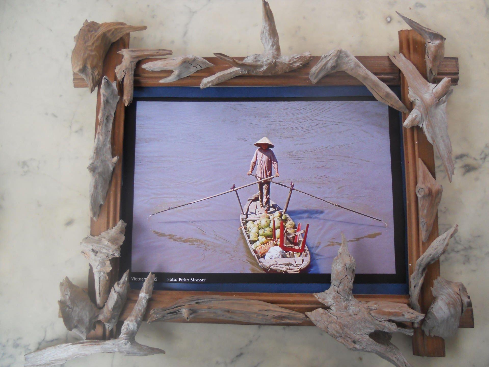 Cadre en bois avec bois flotté pour tableau photo ou mémo