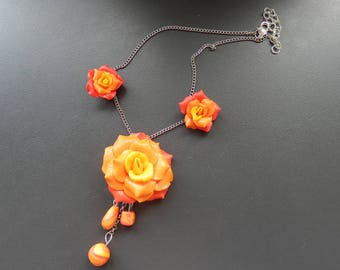 Pink Orange polymer clay necklace