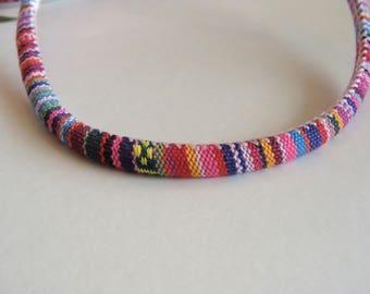 Fabric cable striped multicolored round 6 mm diameter