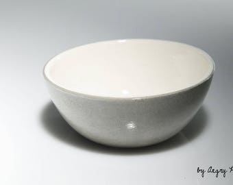 Small ceramic bowl handmade gray and white