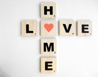 Set of giant scrabble letters - love + Home - Valentine's day gift idea