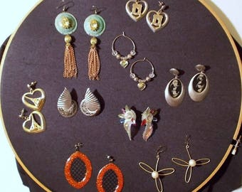 Set of 9 Pairs 1980s Pierced Earrings -  Beads - Hoops - Leaves - Eiffel Tower & More!