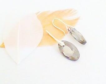 Earrings 'swarovski faceted Crystal' grey oval