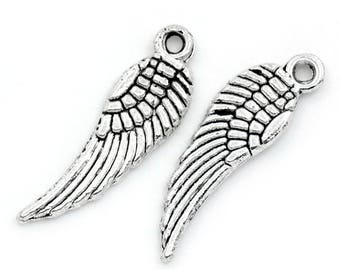 5 charms 5x17mm silver wings