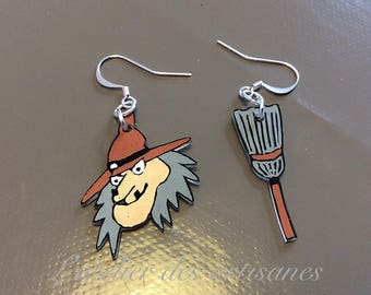 Earrings made of plastic crazy Witch and her broom.