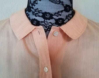 60s Ship and Shore Vintage Peter Pan collar peach button up size 34