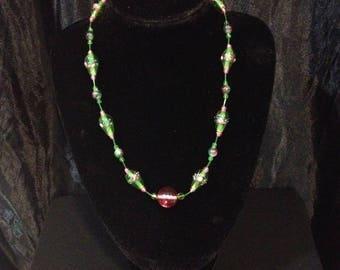 Green Venetian glass beads necklace