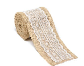 """2.5"""" Wide x 10 Yards Long Natural Burlap Craft Ribbon with Lace (Jute Ribbon, Burlap Tape, Rustic Decor) with White Lace"""